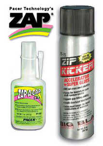 Zap Superglues and drying accelerator.